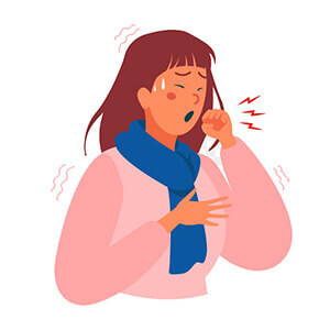 Woman with cold coughing